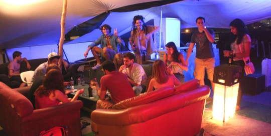 overstay tel aviv hostel's rooftop night vibes