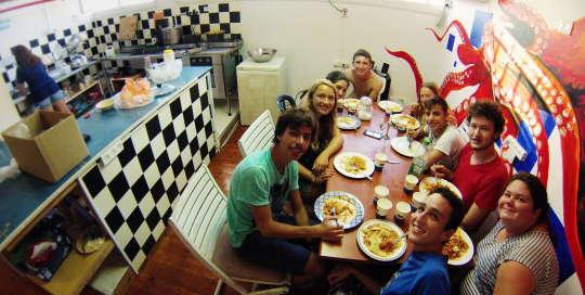 nice dinner at overstay tel aviv hostel's kitchen