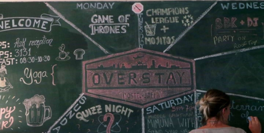 overstay jaffa hostel events board